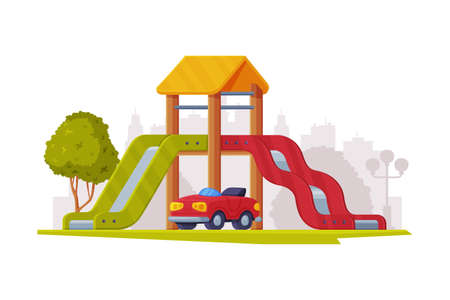 Kids Playground as Urban Summer Public Area for Playing Vector Illustration