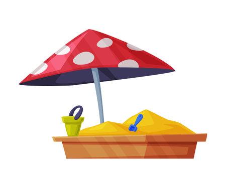 Playground Equipment with Sandpit or Sandbox Vector Illustration