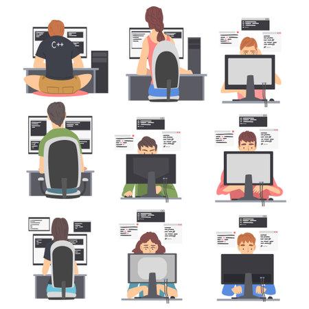 Web Developer or Programmer Working In Front of Computer Screen Vector Illustration Set Vecteurs