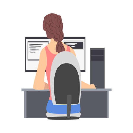 Woman Web Developer or Programmer Working In Front of Computer Screen Vector Illustration