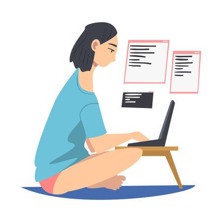 Woman as Software Developer or Programmer Engaged in Coding in Server-side Framework on Laptop Vector Illustration