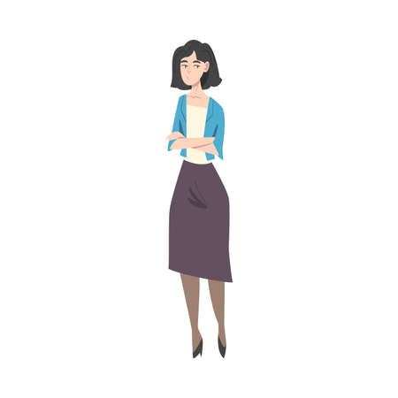 Young Woman in Casual Clothes Standing with Folded Hands and Waiting Cartoon Style Vector Illustration