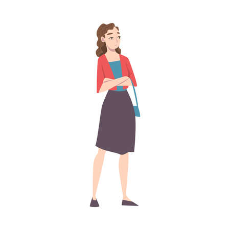 Young Woman Standing with Folded Hands, Girl Wearing Casual Clothes Waiting for Something Cartoon Style Vector Illustration