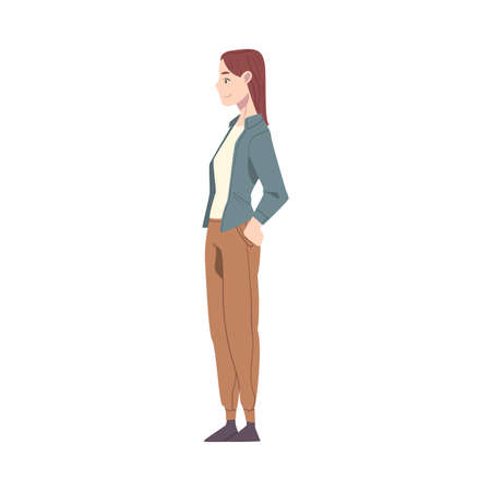 Young Woman Wearing Casual Dress Standing with Hands on her Hips Cartoon Style Vector Illustration
