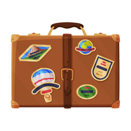 Brown Luggage Bag as Travel and Tourism Symbol Vector Illustration