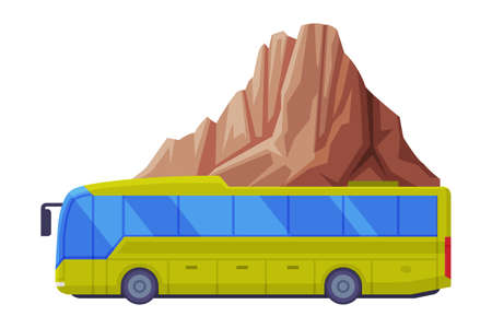Long Tour Bus Driving Along Mountain Peak as Travel and Tourism Symbol Vector Illustration Vector Illustration