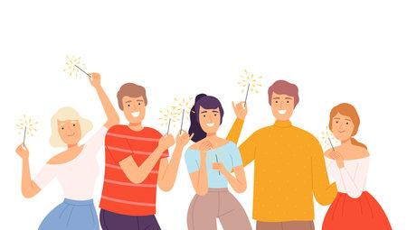 Happy People Holding Burning Sparklers, Joyful Guys and Girls Celebrating Christmas, Birthday Holidays Events Cartoon Style Vector Illustration