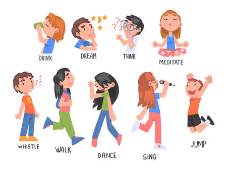 Verbs Expressing Actions Set, Children Education Concept, Cute Kids Doing Activities Cartoon Style Vector Illustration