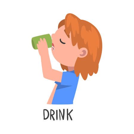 Drink Word, the Verb Expressing the Action, Children Education Concept Cartoon Style Vector Illustration Ilustrace