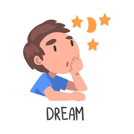 Dream Word, the Verb Expressing the Action, Children Education Concept, Cute Dreaming Boy Cartoon Style Vector Illustration