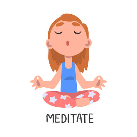 Meditate Word, the Verb Expressing the Action, Children Education Concept, Cute Meditating Girl Cartoon Style Vector Illustration