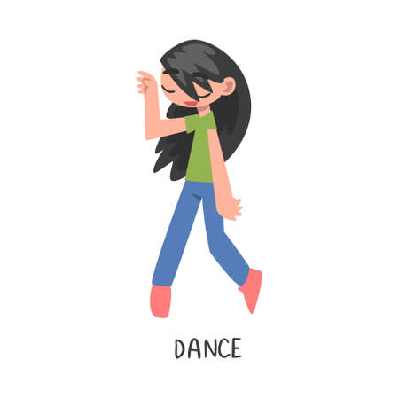 Dance Word, the Verb Expressing the Action, Children Education Concept, Cute Dancing Girl Cartoon Style Vector Illustration