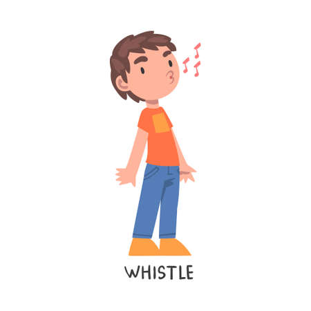 Whistle Word, the Verb Expressing the Action, Children Education Concept, Cute Whistling Boy Cartoon Style Vector Illustration