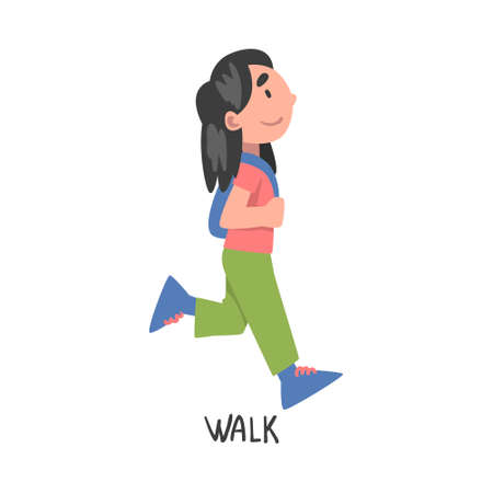 Walk Word, the Verb Expressing the Action, Children Education Concept, Cute Walking Girl Cartoon Style Vector Illustration