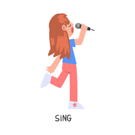 Sing Word, the Verb Expressing the Action, Children Education Concept, Cute Girl Singing with Microphone Cartoon Style Vector Illustration Ilustrace