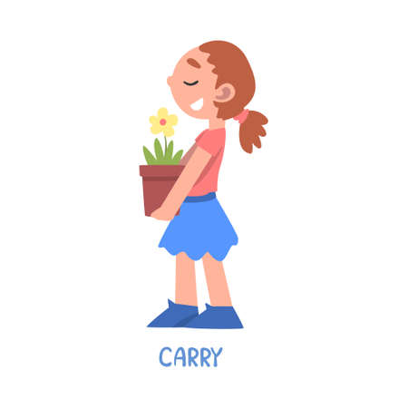 Carry Word, the Verb Expressing the Action, Children Education Concept, Cute Girl Carrying Flower Pot Cartoon Style Vector Illustration Ilustrace