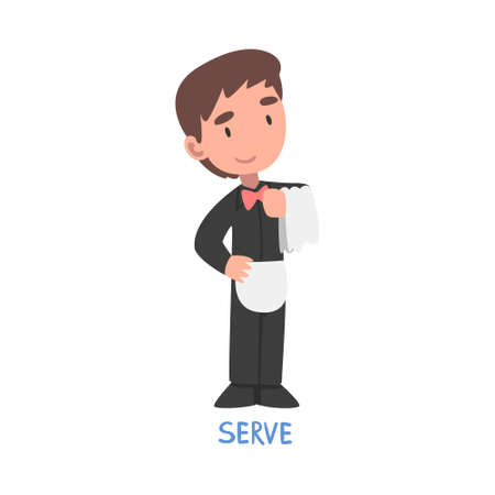 Serve Word, the Verb Expressing the Action, Children Education Concept Cartoon Style Vector Illustration