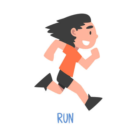 Run Word, the Verb Expressing the Action, Children Education Concept, Cute Running Boy Cartoon Style Vector Illustration