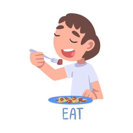 Eat Word, the Verb Expressing the Action, Children Education Concept, Cute Boy Eating at the Table Cartoon Style Vector Illustration Ilustrace