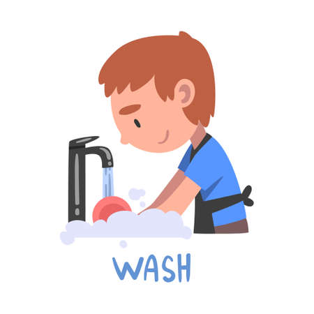 Wash Word, the Verb Expressing the Action, Children Education Concept, Cute Boy Washing the Dish Cartoon Style Vector Illustration Ilustrace