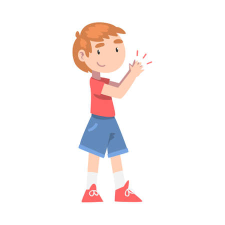 Cute Little Boy in Shorts and T-shirt Clapping his Hands, Happy Kid Expressing Enjoyment, Appreciation, Delight Cartoon Style Vector Illustration