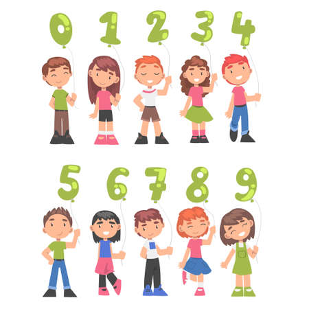 Cute Kids Holding Green Balloons Shaped as Numbers Cartoon Style Vector Illustration