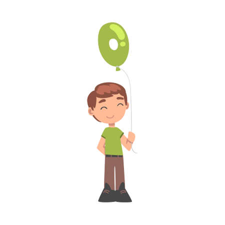 Cute Boy Holding Green Balloon Shaped as Number Cartoon Style Vector Illustration