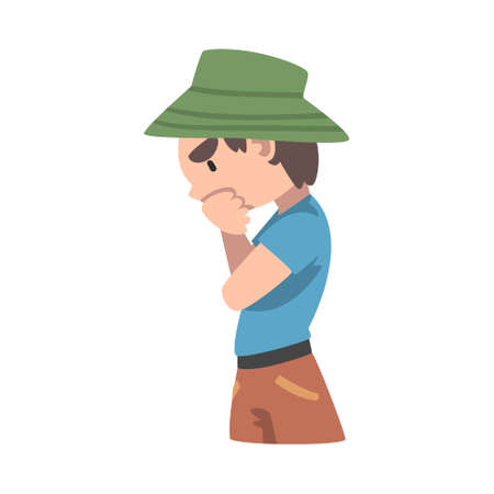 Smart Thoughtful Boy in Panama Hat Cartoon Style Vector Illustration Vecteurs