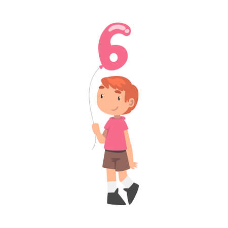 Cute Boy Holding Pink Balloon Shaped as 6 Number Cartoon Style Vector Illustration