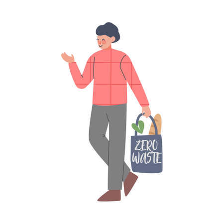 Young Man Using Eco Bag for Shopping, Guy Caring about Environment and Ecology Cartoon Style Vector Illustration