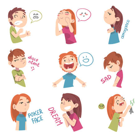 Children with Different Facial Expressions Set, Boys and Girls Showing Various Emotions Cartoon Style Vector Illustration