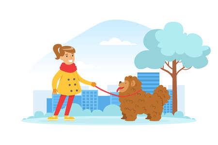 Cute Smiling Girl Walking with her Dog Outdoors in Winter Snow Park Cartoon Vector Illustration