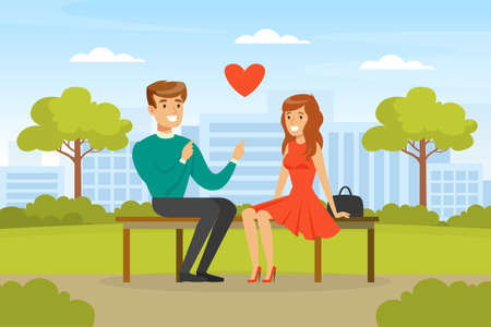 Young Couple Sitting on Bench in Park, Man and Woman Having Romantic Date in City Park Cartoon Vector Illustration