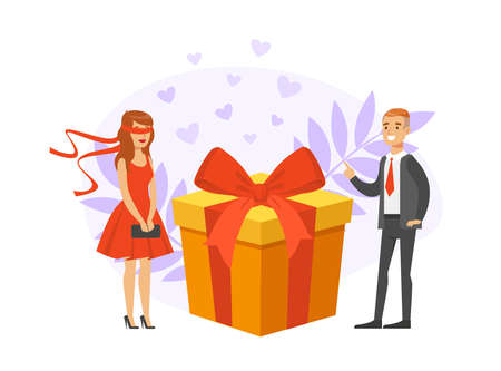 Girl Having Blind Date, People Finding Love, Young Man and Blindfolded Girl Met through Online Dating Application or Website Vector Illustration Ilustracja