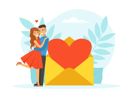 Couple in Love Having Romantic Date during Valentine Day Celebration, Young Man and Woman Met through Online Dating Application or Website Vector Illustration Ilustracja