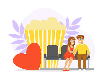 Romantic Couple on Movie Date, Man and Woman Eating Popcorn and watching Movie in the Cinema Vector Illustration
