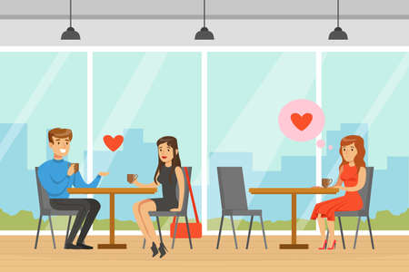 Young Couple Sitting in Cafe, Man and Woman Having Romantic Date, People Finding Love, Upset Lonely Girl Sitting at Table in Cafe Vector Illustration
