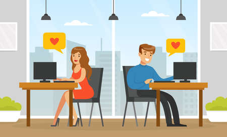 People Using Online Dating Platform for Dating or Searching for Romantic Partner, Man and Woman Chatting Using Computers, Virtual Relationships Concept Vector Illustration