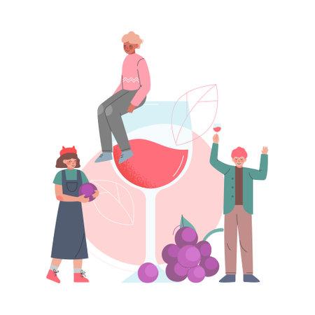 Friends Drinking Wine, Tiny Man Sitting on Huge Wine Glass Cartoon Style Vector Illustration