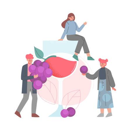 Friends Drinking Wine, Tiny Woman Sitting on Huge Wine Glass Cartoon Style Vector Illustration Иллюстрация