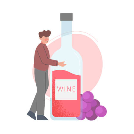 Young Man Hugging Huge Bottle of Wine Cartoon Style Vector Illustration