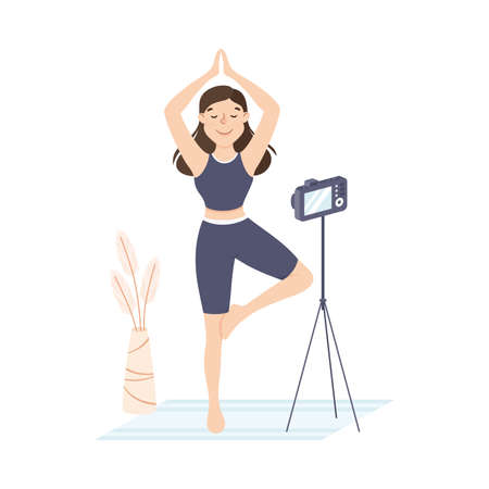 Girl Doing Yoga Exercises Woman Creating Content For Blog Or Royalty Free Cliparts Vectors And Stock Illustration Image 161889826