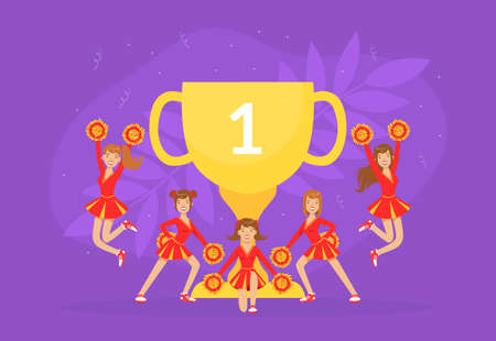 Cheerleading Team with Golden Winner Cup, Fans Girls in Red Uniform Dancing Together with Pom Poms Vector Illustration