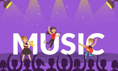 Children Playing Music Banner, Kids Performing with Musical Instruments Cartoon Vector Illustration