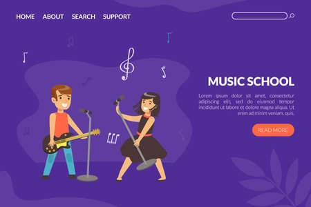 Music School Landing Page Template, Children Playing Music and Singing, Website Interface Design Cartoon Vector Illustration