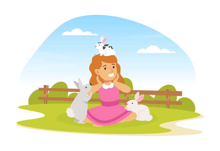 Cute Girl Playing with White Rabbits on Farm Yard, Kid Interacting with Animal in Petting Zoo Cartoon Vector Illustration Vettoriali
