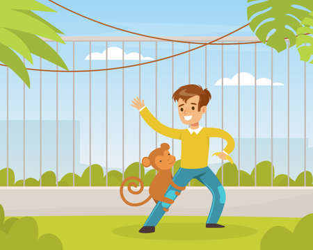 Cute Boy Playing with Monkey on Green Lawn, Kid Interacting with Animal in Petting Zoo Cartoon Vector Illustration