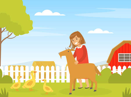 Cute Girl Playing with Goat on Farm Yard, Kid Interacting with Domestic Animal in Petting Zoo Cartoon Vector Illustration.