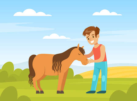 Cute Boy Playing with Pony on Farm Yard, Kid Interacting with Animal in Petting Zoo Cartoon Vector Illustration