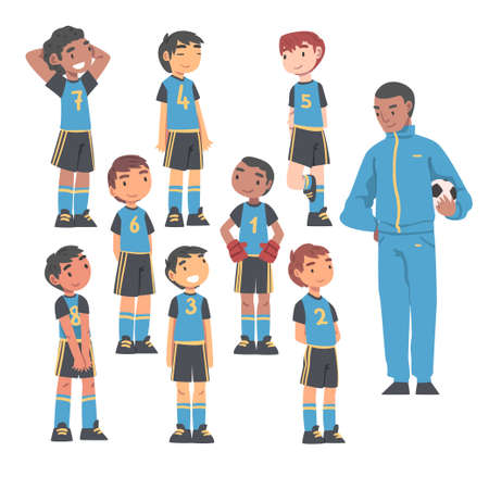 Kid Soccer Players Team with Coach Trainer, Group of Kids in Sports Uniform and Football Trainer, School Sports Activity, Football Academy Concept Cartoon Vector Illustration